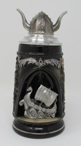 Viking Ship Grotto .5L Beer Stein with Viking Helmet Lid