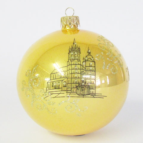 Krakow Poland Gold Christmas 100mm Blown Glass Ornament