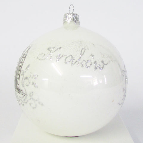 Krakow Poland Pearl Christmas 100mm Blown Glass Ornament