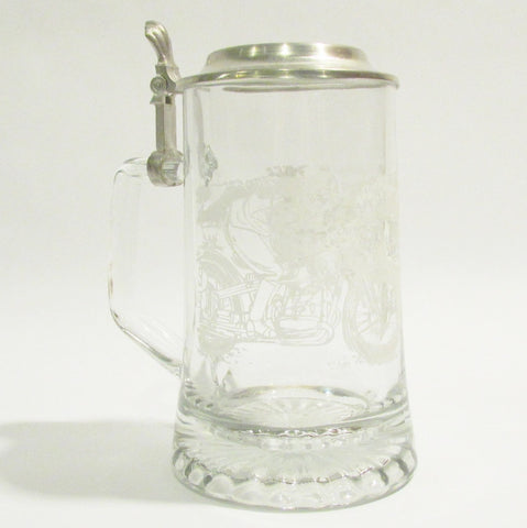 Motorcycle Etched .4L Glass Beer Stein