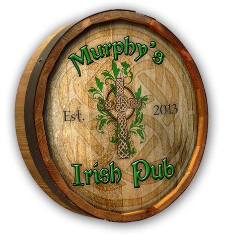 Personalized Irish Pub Celtic Cross Oak Barrel Sign