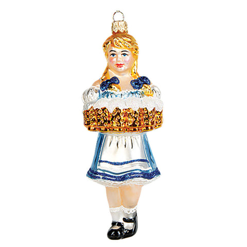Oktoberfest Beer Waitress (Bavarian Girl) - Blown Glass Ornament