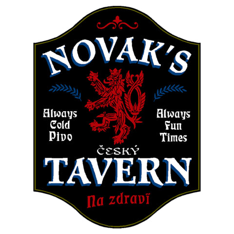 Czech Tavern Personalized Sign 4619 Home Bar Sign