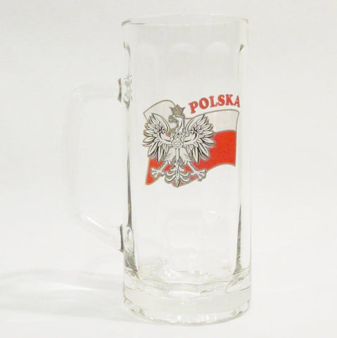 Polish Flag Polska Eagle .5L Tall Glass Beer Mug