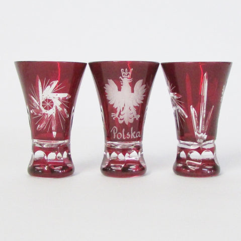 Polish Crystal Etched Red Shot Glass