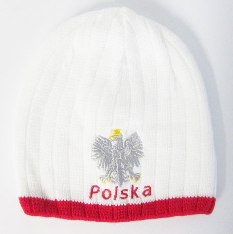 White Knit Polish Eagle Thick Winter Hat Beanie