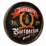 German Biergarten Personalized Barrel Head Home Bar Sign_Angle