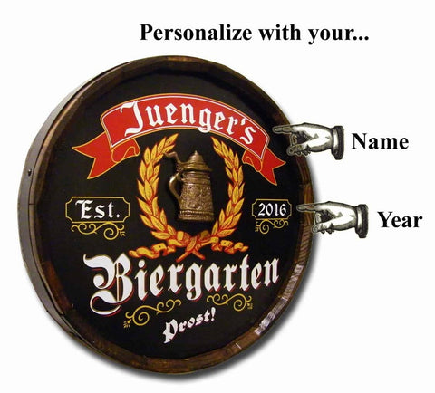 Personalized German Biergarten Oak Barrel Sign