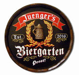 German Biergarten Personalized Barrel Head Home Bar Sign_Black