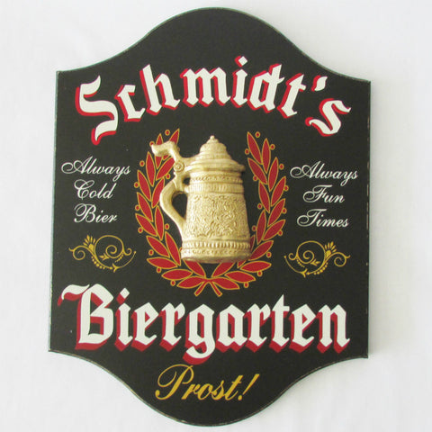 German Biergarten Personalized Sign 4617 Home Bar Sign