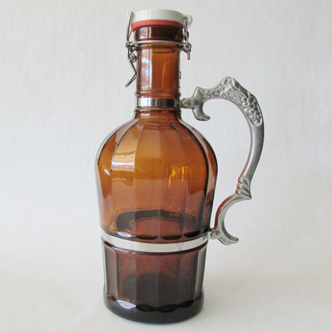 Beer Growler 2L - Grapevine - Beveled Amber