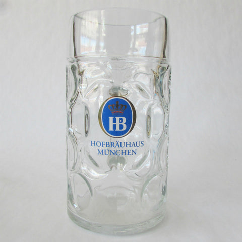 HB Hofbrauhaus Glass 1L Dimple Beer Mug - Krug