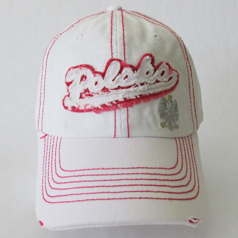 White Polska Worn Look Cap