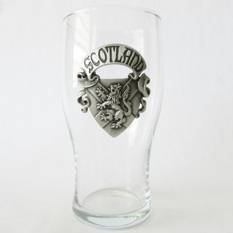 Scotland Pint Glass with Pewter Relief