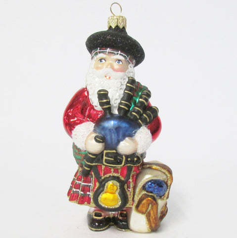 Scotland_Scottish Santa - Blown Glass Christmas Ornament