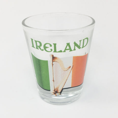 Ireland Flag & Harp Shot Glass_Clear