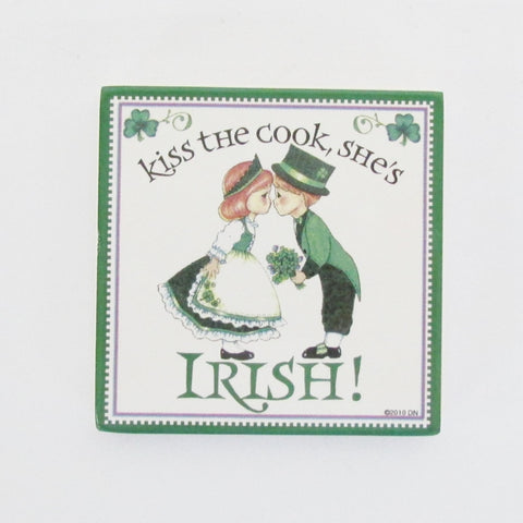 Kiss the Irish Cook Tile Magnet