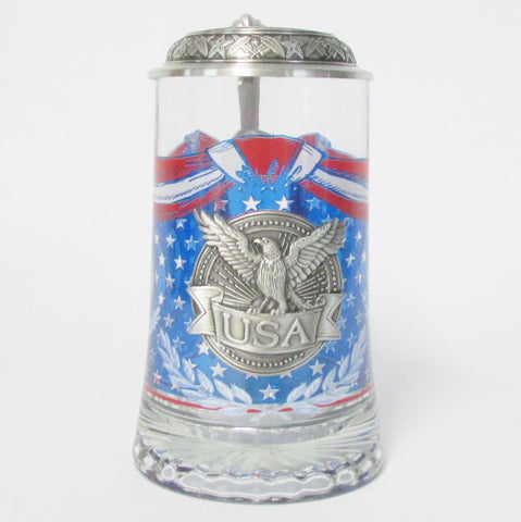 USA Eagle Heritage .5L Glass Beer Stein