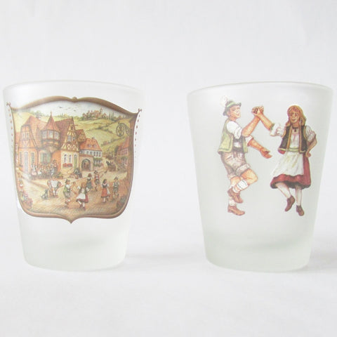 Village Dancers Frosted Shot Glass