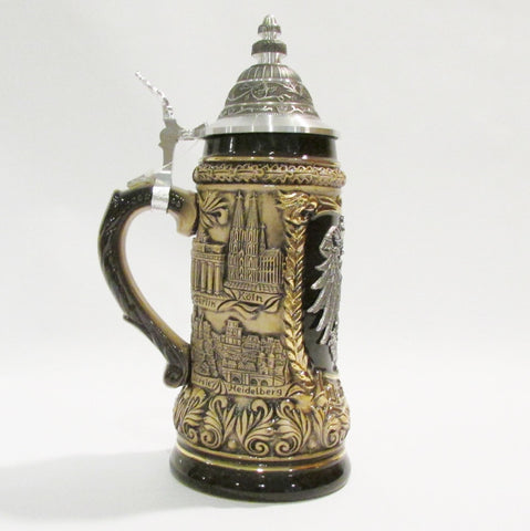 German Cities Pewter Eagle Relief .5L Beer Stein
