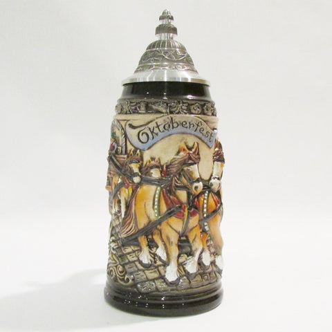 Oktoberfest Horse Drawn Beer Wagon Rustic German 1L Beer Stein