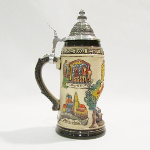 Oktoberfest Bier (Beer) and Brats Rustic German 1L Beer Stein