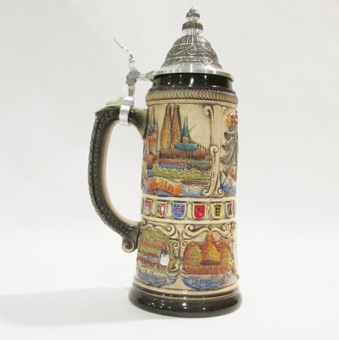 Germany Panorama Country Crests Rustic .75L Beer Stein