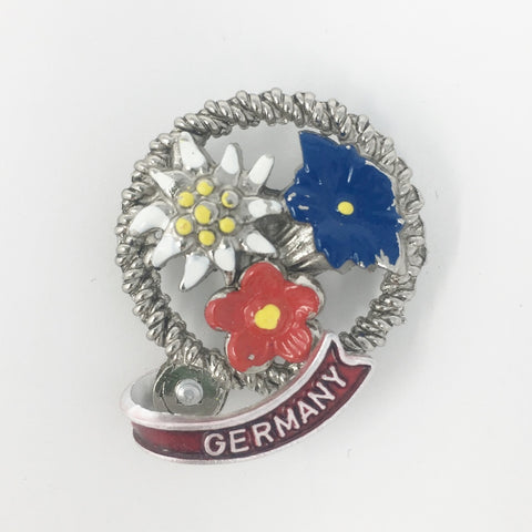 3 Colored Flowers Germany Deluxe Hat Pin