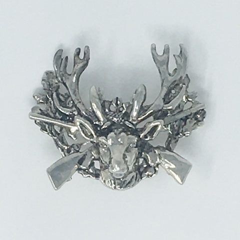 Stag & Rifles Silver Hat Pin