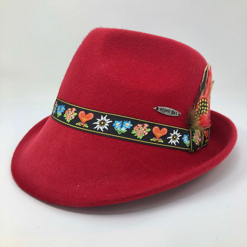Red Fedora with Flower Band- Bavarian Wool Hat