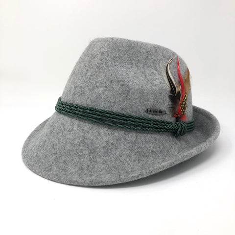 Grey Fedora- Bavarian Wool Hat