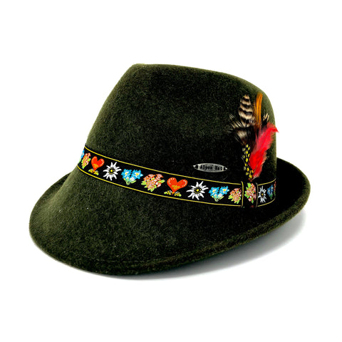 Green Fedora w/ Flower Band- Bavarian Wool Hat