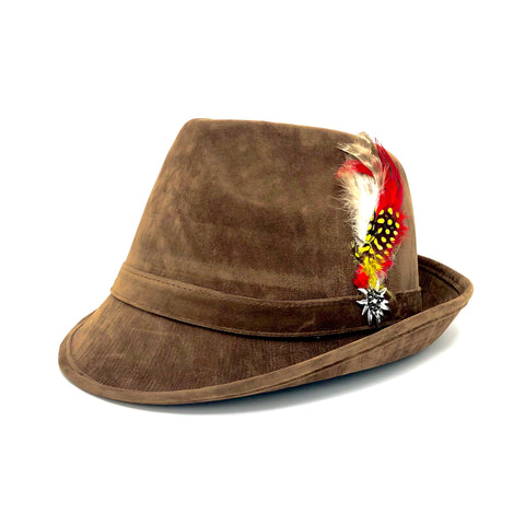 Brown Faux Leather Fedora Hat