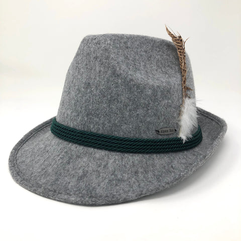 Grey Souvenir Fedora Felt Hat- Bavarian Green Rope Band