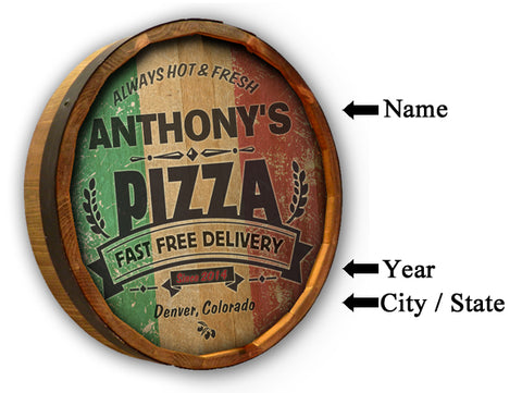 Italian Pizza Oak Barrel Personalized Sign CQB26