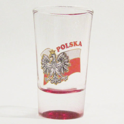 Polska Waving Flag Shot Glass_Red Bottom