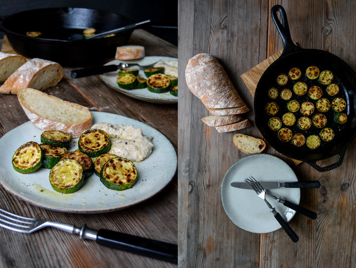 Bean and Caper Dip with Golden Sautéed Zucchini