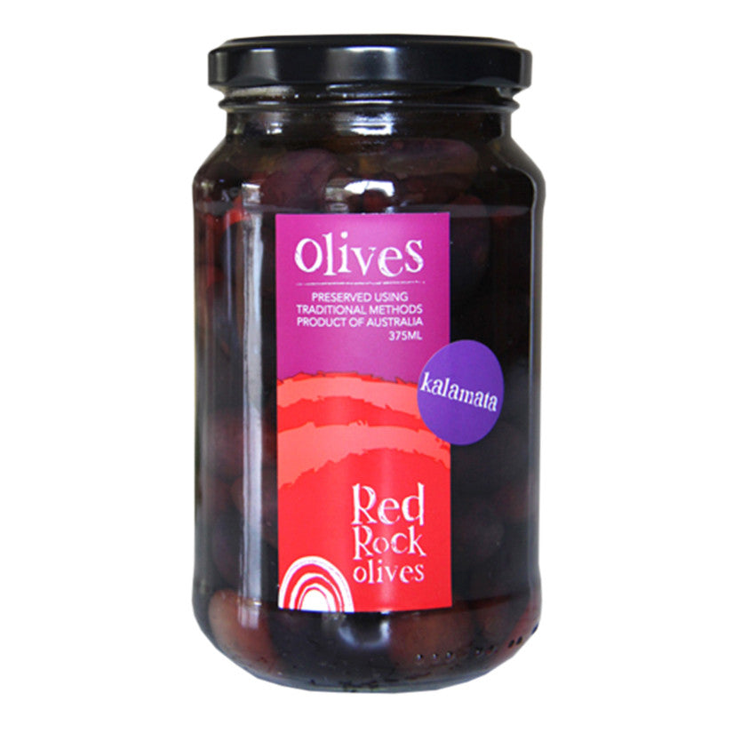 RED ROCK OLIVES - 375ml Kalamata table olives