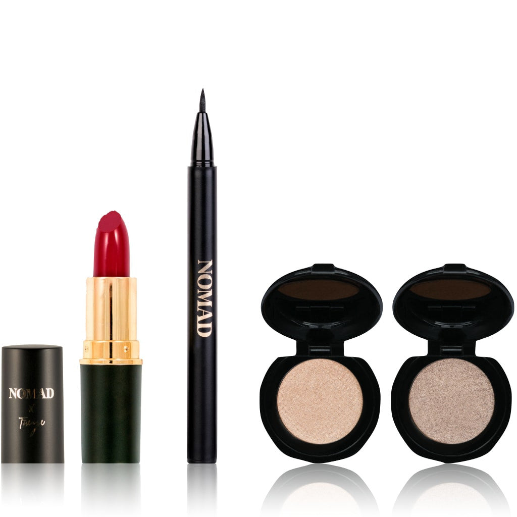 NOMAD x Florence Bella Bag - 4-Piece Travel Makeup Set with Lipstick, Eyeliner and 2 Eyeshadows