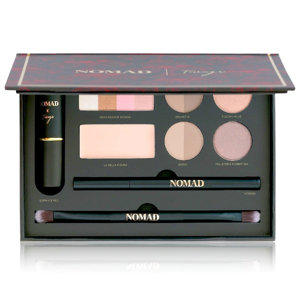 NOMAD x Florence Makeup Palette - All-In-One Kit with Lipstick, Eyeliner, Bronzer/Highlighter, Brow Wax, 2 Brow Powders, 2 Eyeshadows and Double-ended Makeup Brush