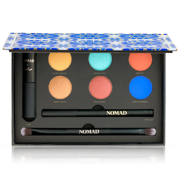NOMAD x Marrakesh Makeup Palette - All-In-One Kit with Mascara, Eyeliner, 6 Intense Eyeshadows and Double-ended Makeup Brush