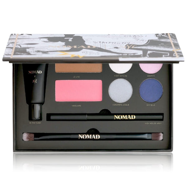 NOMAD x New York Makeup Palette - All-In-One Kit with Eye Primer, Eyeliner, Bronzer, Blush, 4 Eyeshadows and Double-ended Makeup Brush