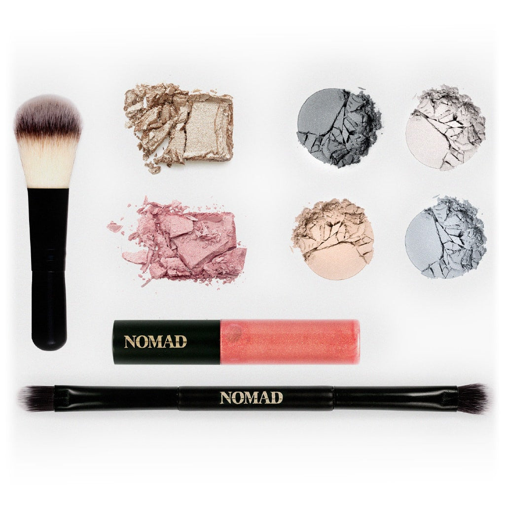 NOMAD x Stockholm Makeup Palette - All-In-One Kit with Face Makeup Brush, Lipgloss, Highlighter, Blush, 4 Eyeshadows and Double-ended Makeup Brush