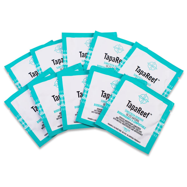 TapaReef Sunscreen Remover Facial wipes in singles the natural way to remove water-resistant and zinc sunscreen