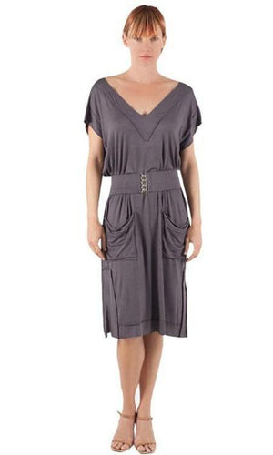Deep V Long Casual Shirt Dress - Sita Couture