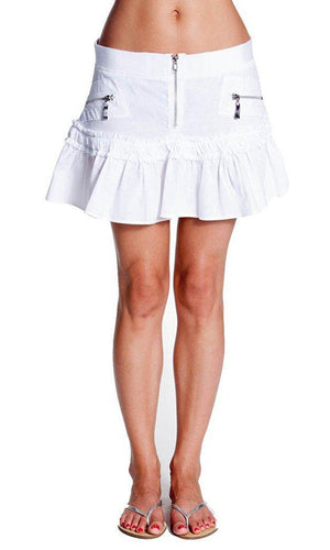 Penny Mini Skirt - Women's Corset Skirt/ Ruffled Bottom