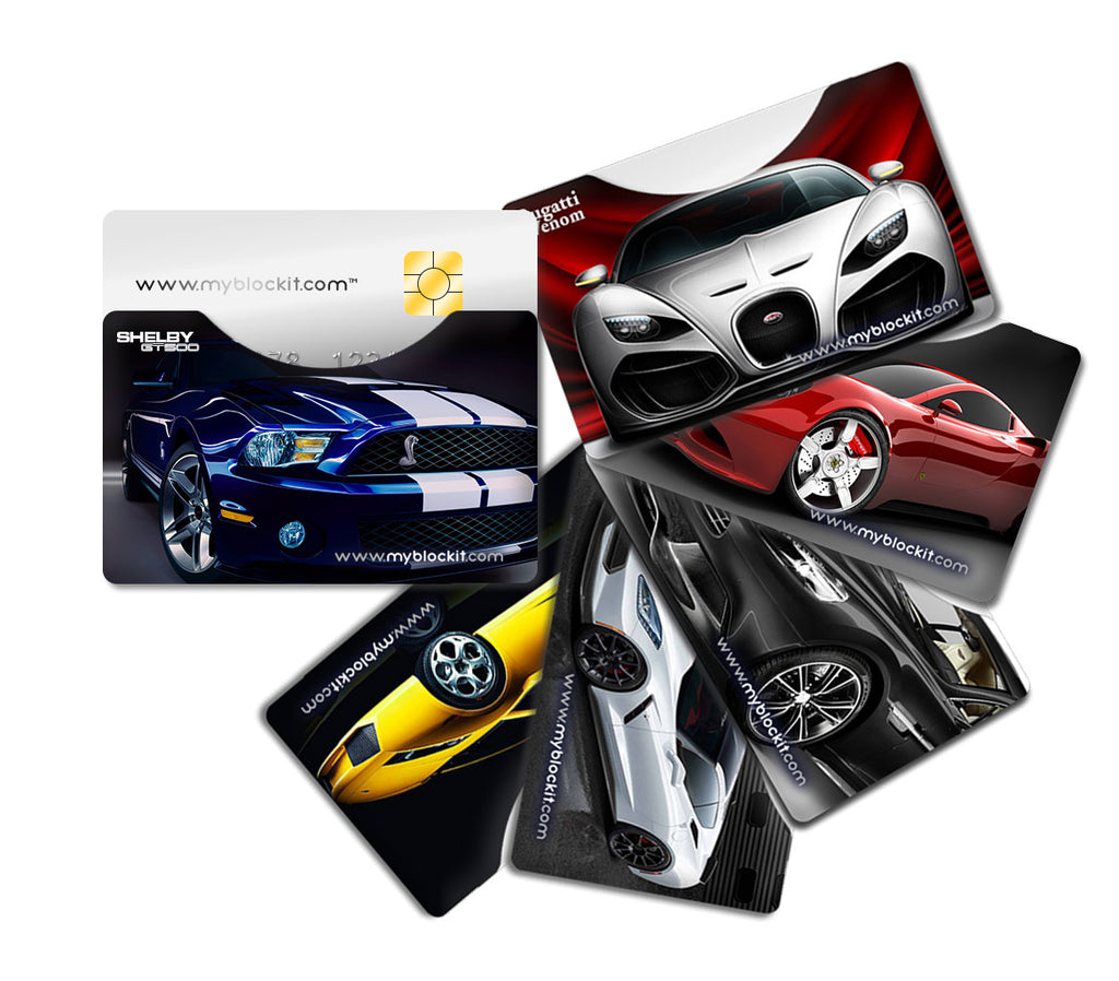 BLOCKIT RFID Protector Sleeves - 6 Pack (Luxury Cars) Top Load or Side Load Credit Debit Card Protectors, Slim Cards Holders fit all Mens & Womens Wallets