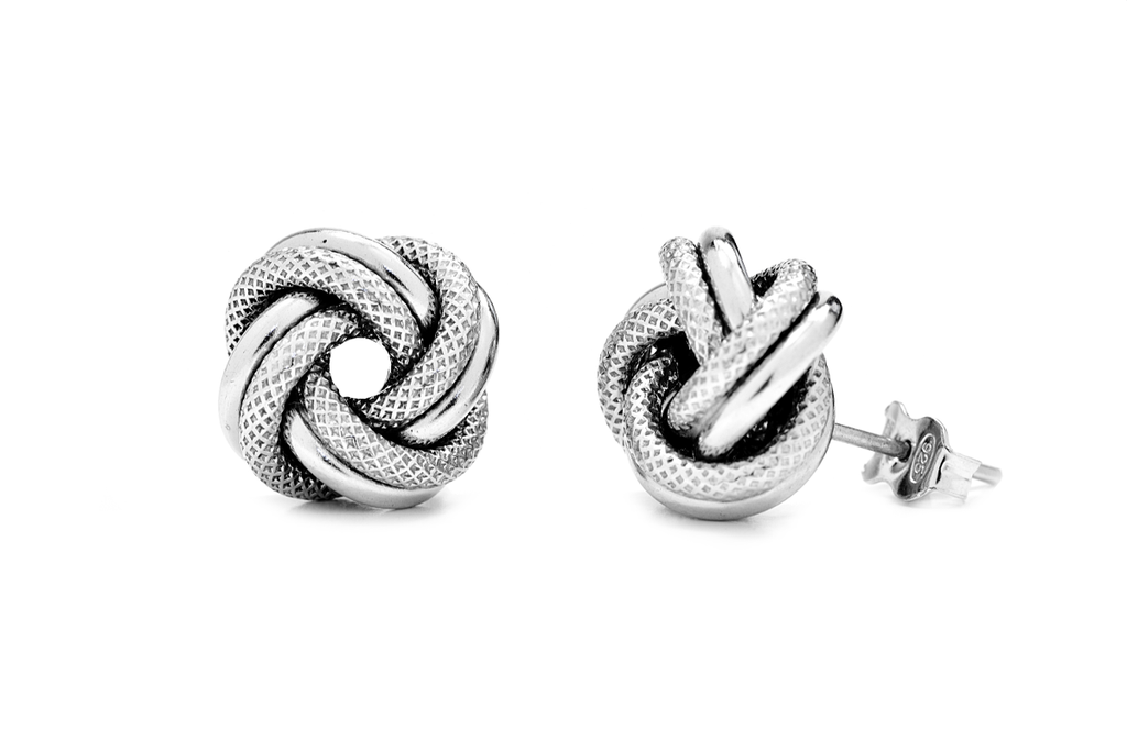 Large Italian Sterling Silver Love Knot Earrings - Anny Gabriella NY