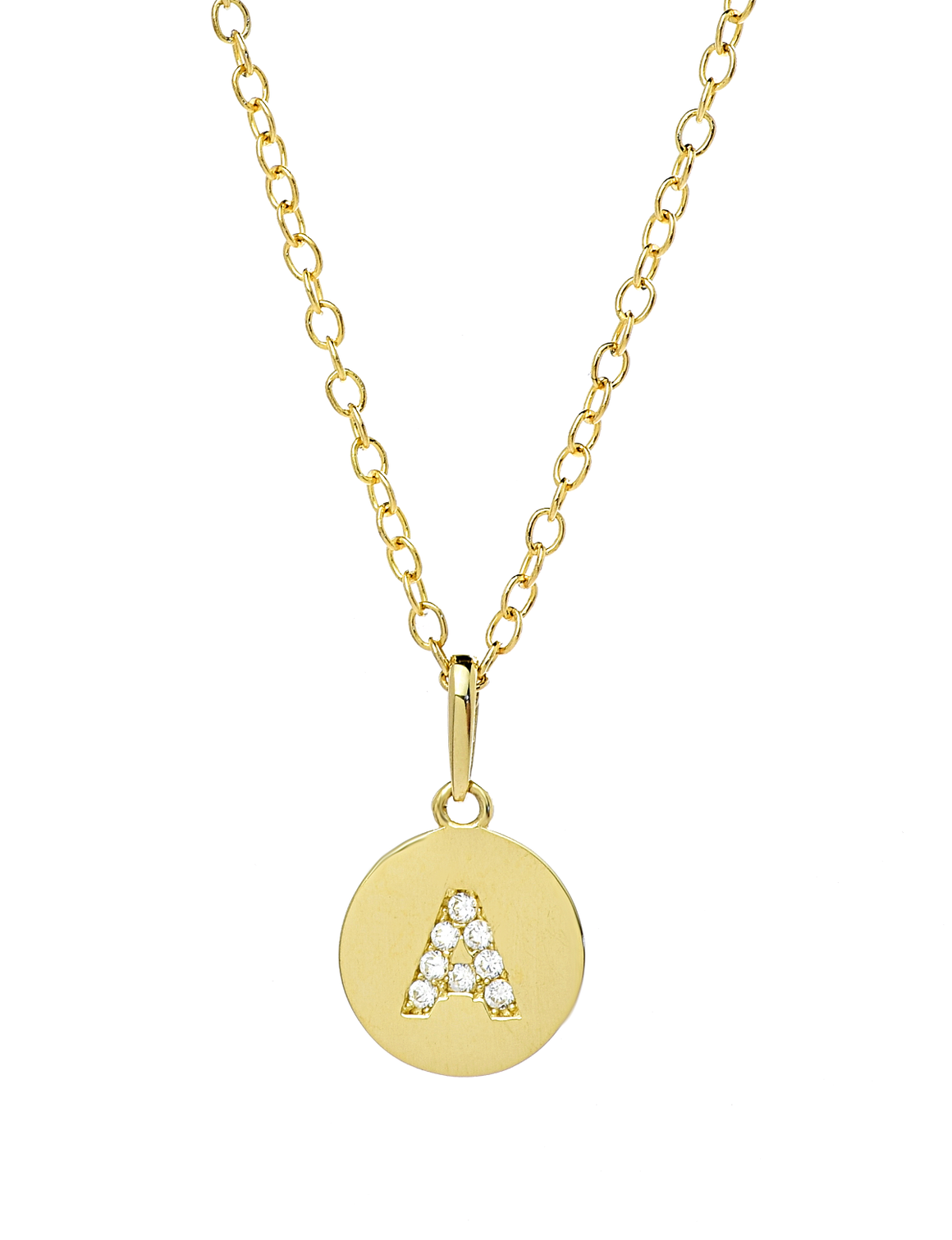 Initial Disc Pendant Necklace in14K Yellow Gold with CZ Stones - Anny Gabriella NY