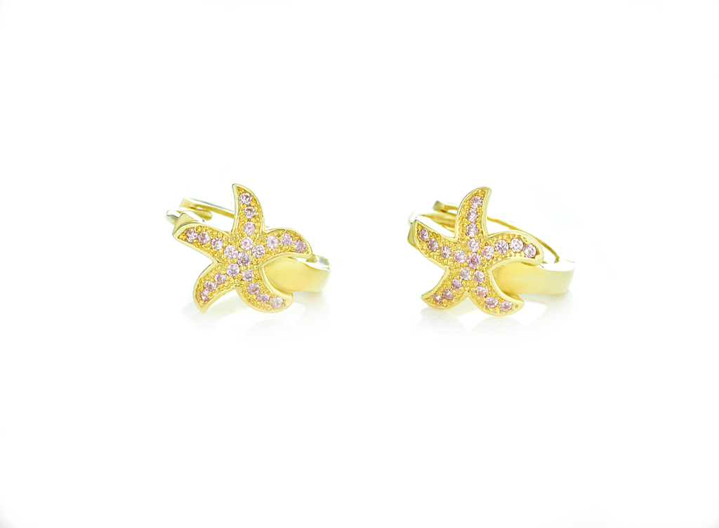 Starfish Hoop Earrings with Pink Cubic Zirconia Stones in 14K Yellow Gold - Anny Gabriella NY
